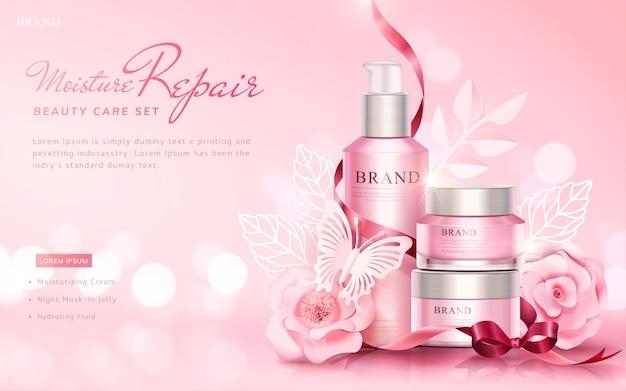 Schönheitspflege-satzfahne mit papierkunstblumen und schmetterlingen auf rosa oberfläche des selektiven fokus, 3d illustration