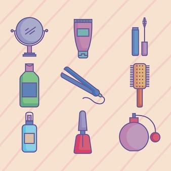 Schönheitsprodukte neun symbole