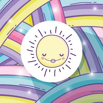 Schönheitsregenbogen und glücklicher sonnenaufkleber