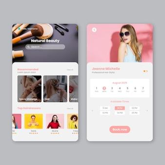 Schönheitssalon buchungs-app mit foto