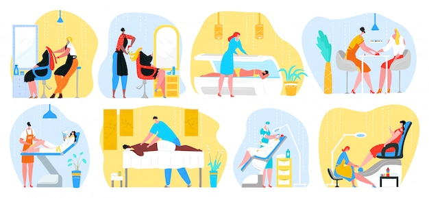 Schönheitssalon frauen dienstleistungen illustrationen gesetzt. friseur, massage, stylistin macht weibliche kunden nägel maniküre. kosmetikerin arbeiten mit schönen models make-up. friseursalon und epilation.