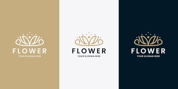 Schönheitssalon und spa-logo-design blumenmonogramm linie kunstvektor