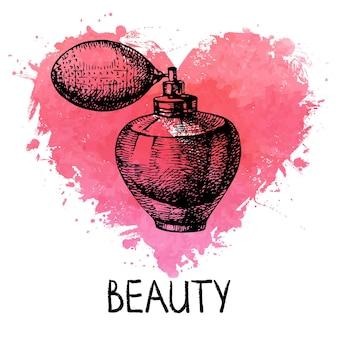 Schönheitsskizzenhintergrund mit spritzenaquarellherzen. kosmetisches zubehör. vintage handgezeichnete vektorillustration