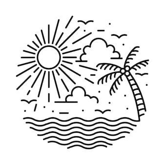 Schönheitssommer und großer sonnenuntergang grafische illustrationsvektorkunst-t-shirt-design