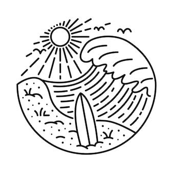 Schönheitssommer und großer sonnenuntergang mit grafischem illustrationsvektorkunst-t-shirt-design des surfbretts
