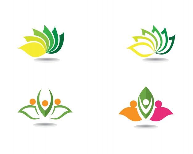Schönheitsvektor lotus blüht designlogo schablonenikonen