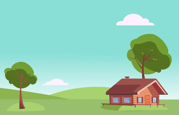 Schönwettersommerlandschaft mit holzhaus des kleinen landes und grünen bäumen auf grashügeln. warmer sommer hintergrund.