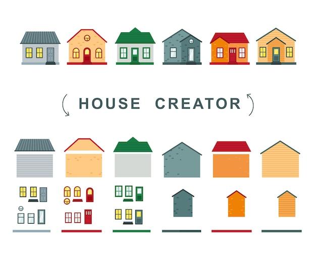 Schöpfer des hauses. vektorsammlung von elementen dach, fenster und wände.