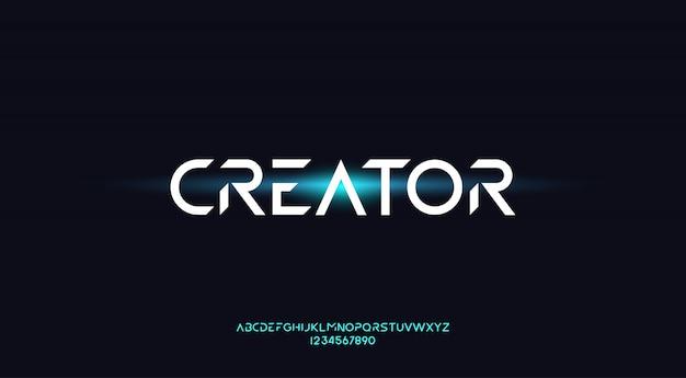 Schöpfer, eine geometrische futuristische alphabetschrift mit technologiethema. modernes minimalistisches typografie-design