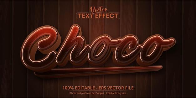 Schoko-text, bearbeitbarer texteffekt im cartoon-stil