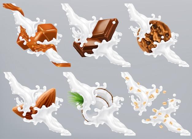 Schokolade, karamell, kokosnuss, mandel, keks, hafer in milchspritzer. joghurt 3d realistisch