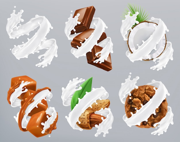 Schokolade, karamell, kokosnuss, mandel, kekse in milchspritzer. joghurt, realistischer vektor