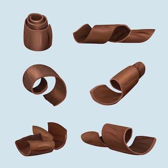 Schokolade rasieren. gourmet-produkte leckeres essen dunkle locke aus schokolade vektor realistische illustrationen. schokoladenstück köstliche rasur, produktzutatensammlung curl