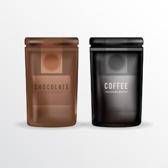 Schokolade- und kaffee-verpackung mock up
