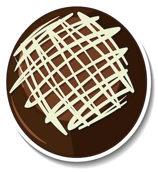 Schokoladen-brownie-aufkleber isoliert auf weißem hintergrund