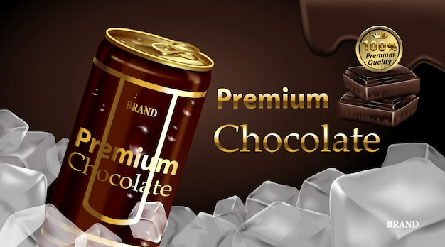 Schokoladen getränkedose mit schokolade und dunkelbrauner farbe