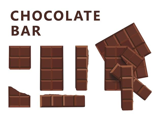 Schokoladen-milch-block-stange und stücke stellten illustration ein