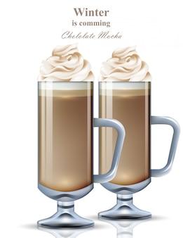 Schokoladen-mokka-realistisches getränk. süßer kaffee mit schlagsahne