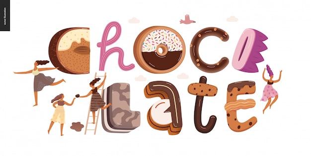 Schokoladen-schriftzug