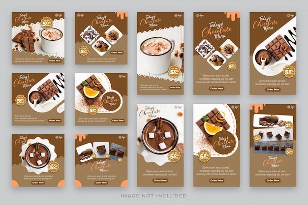 Schokoladen- und kuchengeschichten und post-social-media-vorlage
