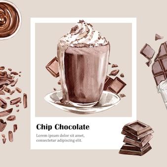 Schokoladenaquarellbestandteile, schokoladengetränk machend, illustration