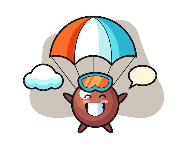 Schokoladenball-karikatur ist fallschirmspringen mit glücklicher geste