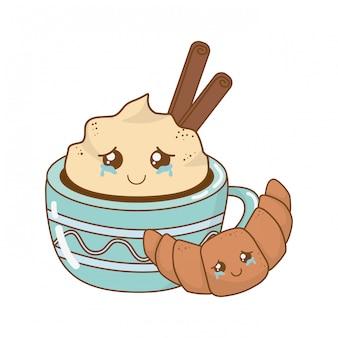 Schokoladenbecher mit croissant kawaii-figuren