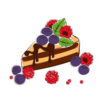Schokoladenbiskuitkuchen mit blaubeeren, himbeeren und minzblättern skizzenvektor