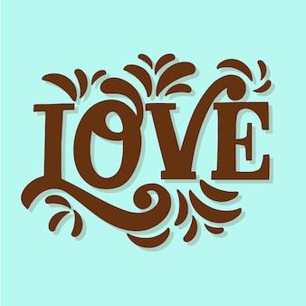 Schokoladenbrauner schatten der liebesbeschriftung