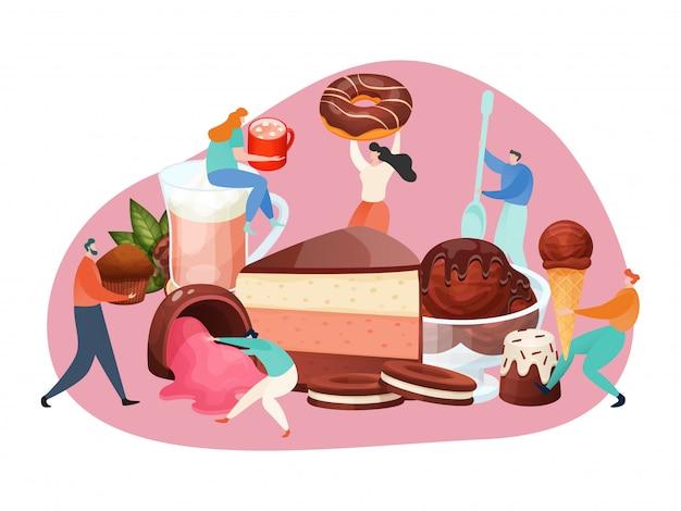 Schokoladendessert-konzept, winzige leute, die große süßigkeiten, kuchen und eiscreme, illustration halten