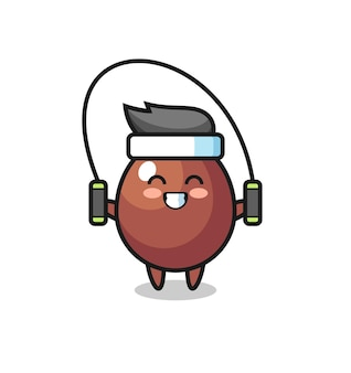 Schokoladenei-charakterkarikatur mit springseil, süßes design