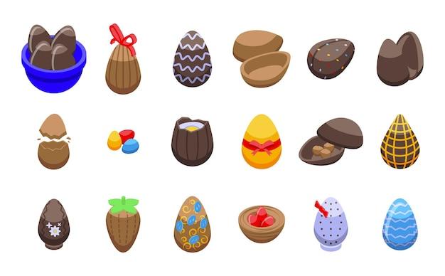 Schokoladeneierikonen stellten isometrischen vektor ein. süßigkeiten zu ostern