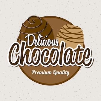 Schokoladenentwurf über weißer hintergrundvektorillustration