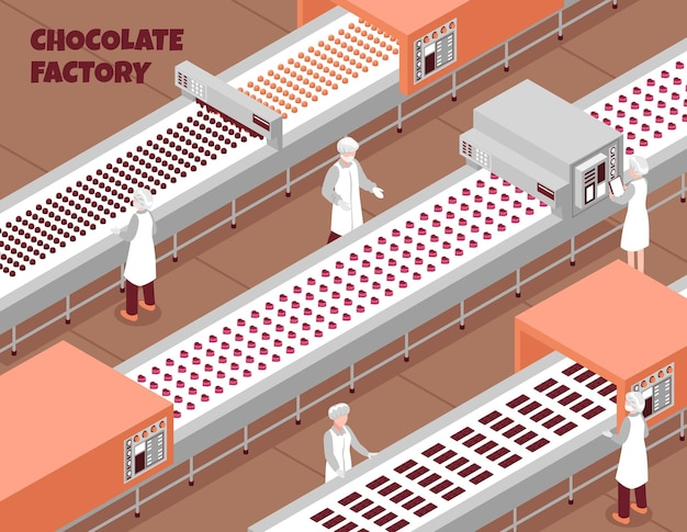 Schokoladenfabrik isometrisch mit automatisierter lebensmittelproduktionslinie und personen, die den arbeitsprozess kontrollieren
