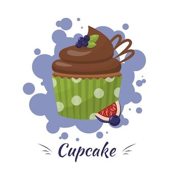 Schokoladenglasierter kleiner kuchen mit blaubeere, feigen-anzeigen