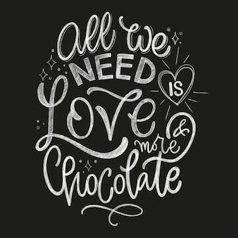 Schokoladenhand schriftzug zitat. weihnachtswinter-wortkomposition. vektordesignelemente für t-shirts, taschen, poster, karten, aufkleber und speisekarte