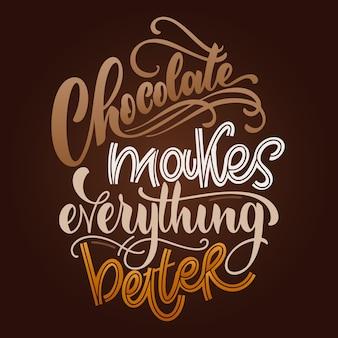 Schokoladenhandbeschriftungszitat bunte weihnachtswinterwortzusammensetzungsvektorgestaltungselemente