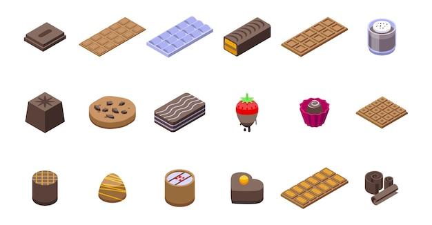 Schokoladenikonen eingestellt. isometrischer satz von schokoladenikonen für netz lokalisiert auf weißem hintergrund
