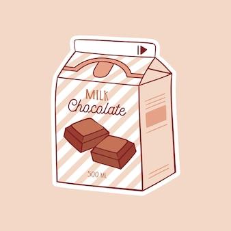Schokoladenkarikaturmilch asiatisches produkt handgezeichnete farbige trendige vektorillustration kawaii anime an Premium Vektoren