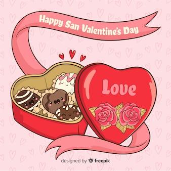 Schokoladenkasten-valentinstaghintergrund