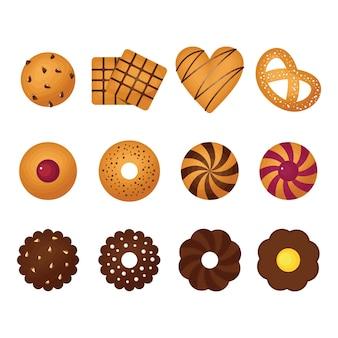 Schokoladenkeks-chip-keks gebackener süßer snack-satz