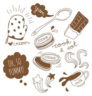 Schokoladenkekse und milch im doodle-stil illustration