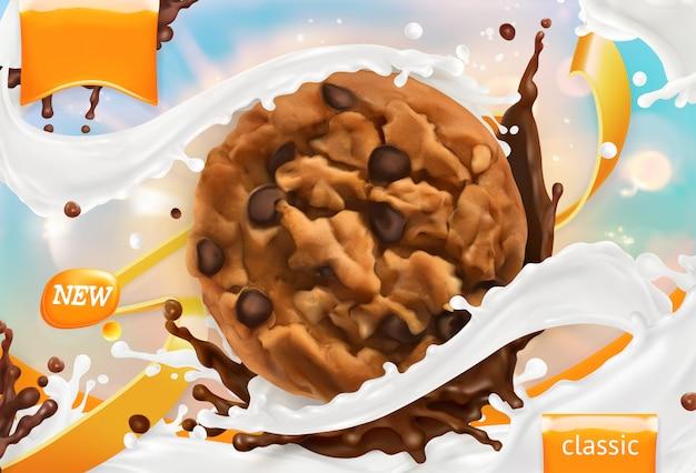 Schokoladenkekse. weißer milchspritzer. 3d realistischer vektor, verpackungsdesign