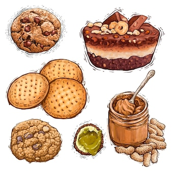Schokoladenkuchen-erdnussbutter-pistazien-pralinen und königliche keks-dessert-aquarellillustration