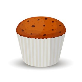 Schokoladenkuchen, kleiner kuchen, muffin in der karikaturart