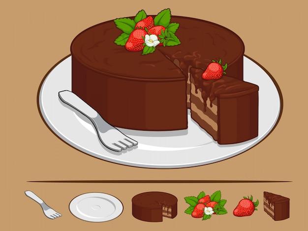 Schokoladenkuchen mit erdbeere auf teller