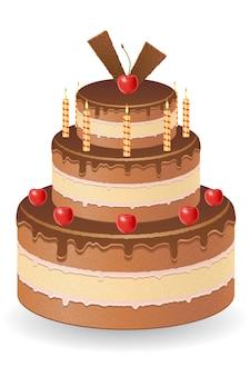 Schokoladenkuchen mit kirschen und brennenden kerzen vector illustration