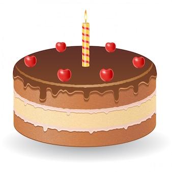 Schokoladenkuchen mit kirschen und brennender kerze vector illustration