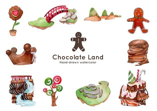 Schokoladenlandthema-aquarellillustration