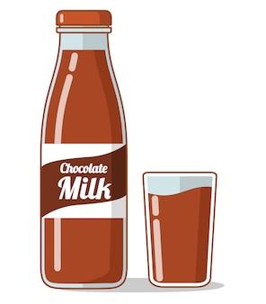 Schokoladenmilch. milchshake-getränk. glasflasche milch.